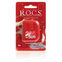 Зубная нить расширяющаяся крученая Рокс Red Edition, 40 м