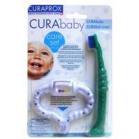 Набор Curaprox: стимулятор для прорезывания временных зубов, голубой и детская зубная щетка CKC42boy